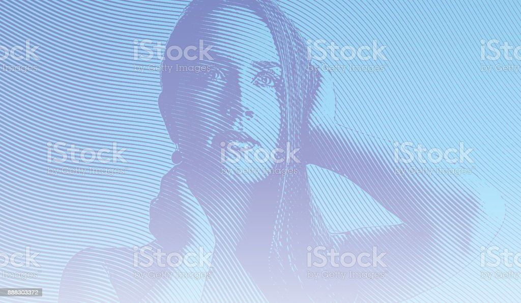 Engraving portrait of beautiful, pensive woman with aspirations. vector art illustration
