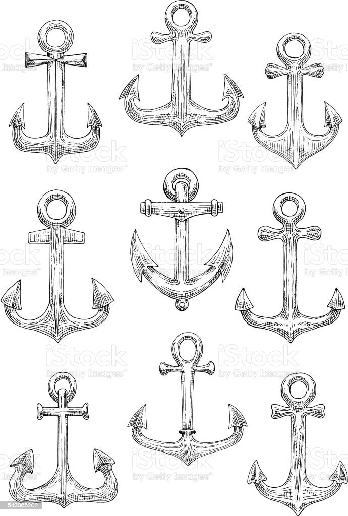 Engraving sketched sailing ships anchors icons vector art illustration
