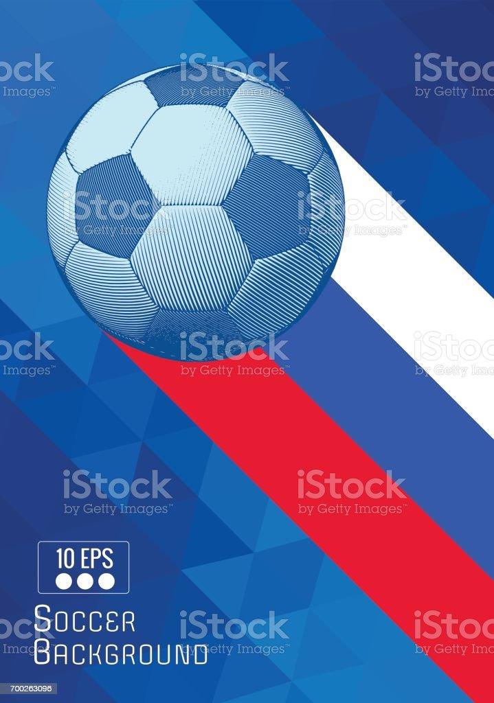 Engraving soccer ball illustration with triangle stripe BG