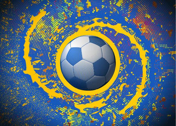 soccer ball spinning auf bunten digitale grafik bg gravur - fußballkunst stock-grafiken, -clipart, -cartoons und -symbole