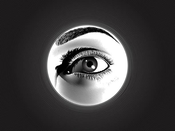 gravierendes spionage-augenzeichnung in monochromer illustration - mann tür heimlich stock-grafiken, -clipart, -cartoons und -symbole
