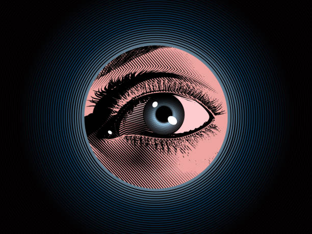 Engraving spy eye drawing with color illustration Color engraving drawing human eye hidden spy in the dark blue hole background illustration with mystery and detective mood looking at camera stock illustrations