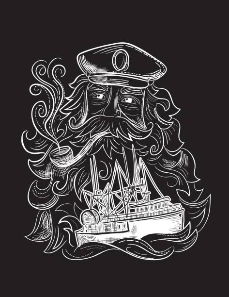 engraving style marine and nautical element - captain and ship - old man smoking pipe drawing stock illustrations, clip art, cartoons, & icons