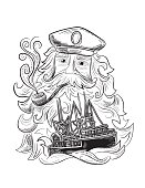 Hand drawn detailed marine element. A captain with a long bead and pie. There is a ship floating through his bead with waves.