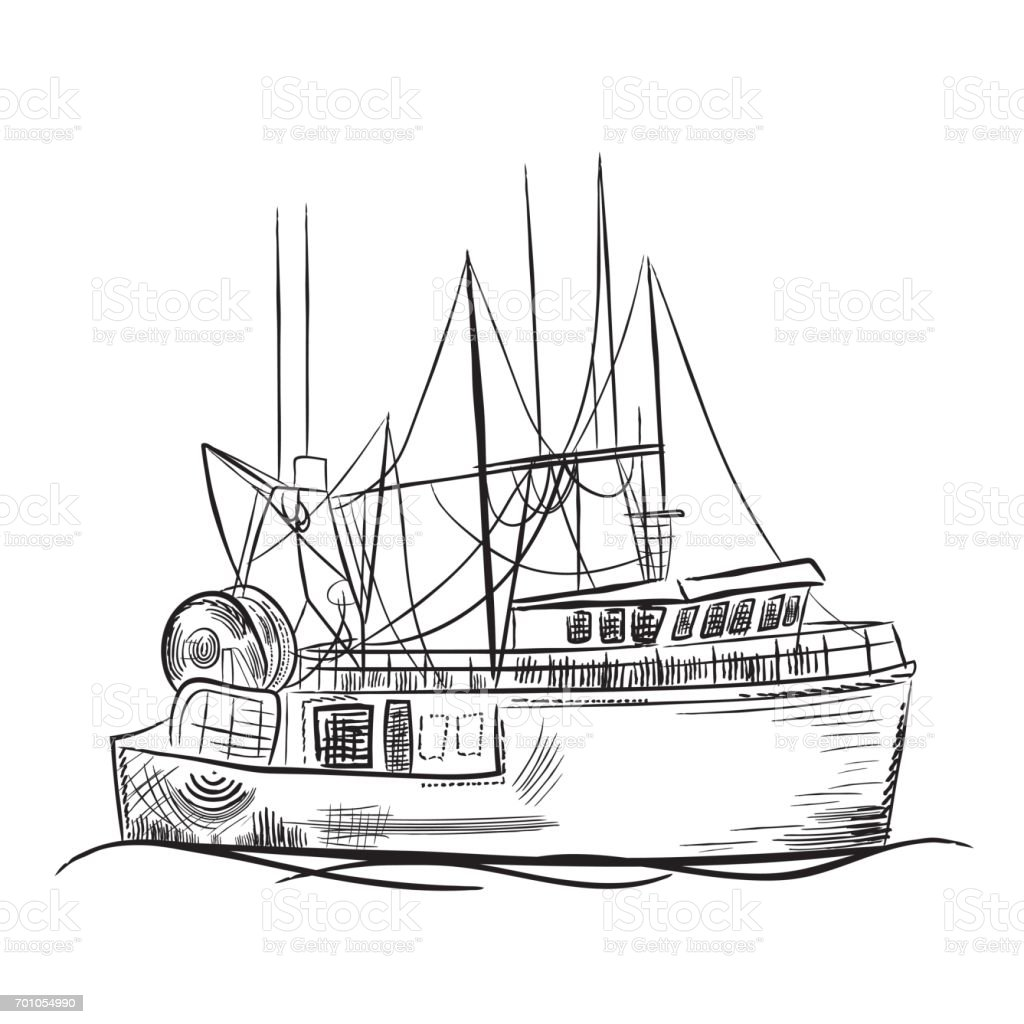 Engraving style marine and nautical element fishing boat for How to draw a fishing boat