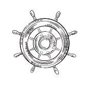 Hand drawn detailed marine element. Ship Wheel