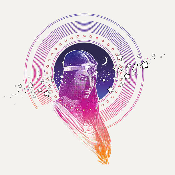 engraving vector of goddess framed with stars, space and moon - bohemian fashion stock illustrations, clip art, cartoons, & icons