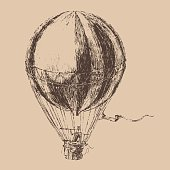 engravings airship (balloon) style, hand drawn vector