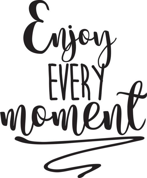 Enjoy every moment inspiration quotes lettering. Calligraphy graphic design sign element. Vector Hand written style Quote design letter element vector art illustration