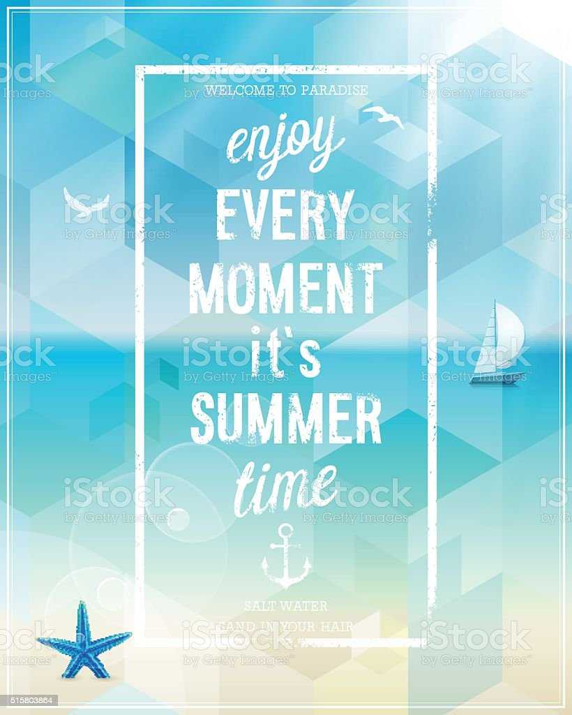 Enjoy Every Moment Poster With Beach Background Royalty Free