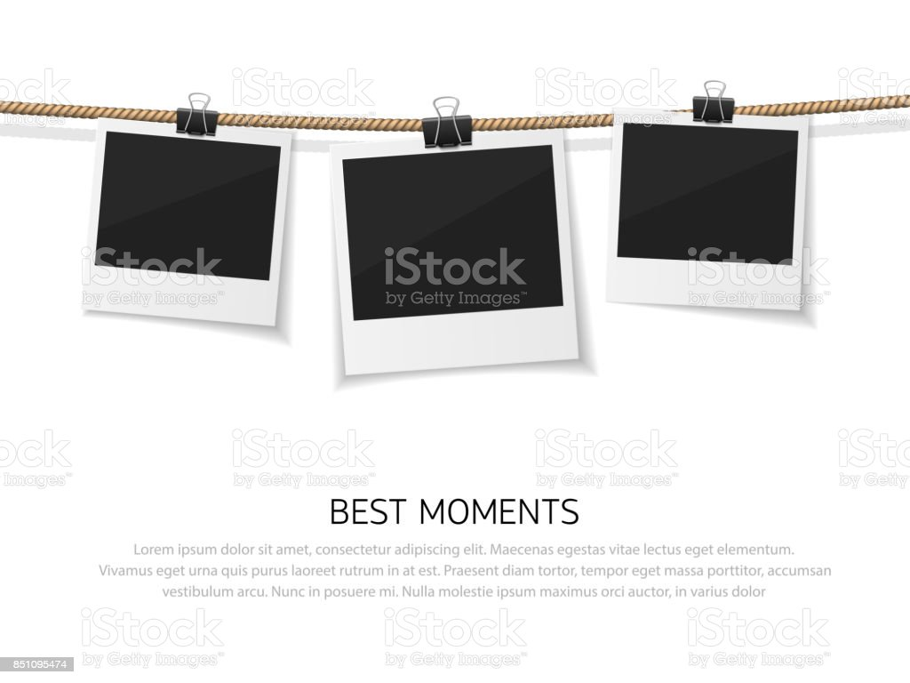 Enjoy every moment. Set of vector polaroid photo hanged on rope. Realistic retro style instant fotos with thread vector art illustration