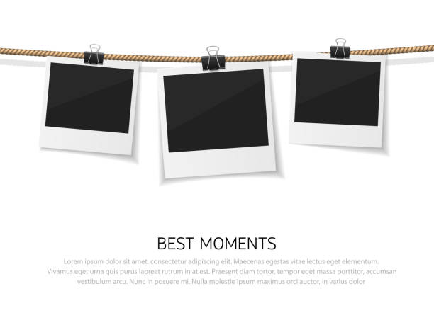 ilustrações de stock, clip art, desenhos animados e ícones de enjoy every moment. set of vector polaroid photo hanged on rope. realistic retro style instant fotos with thread - clip art