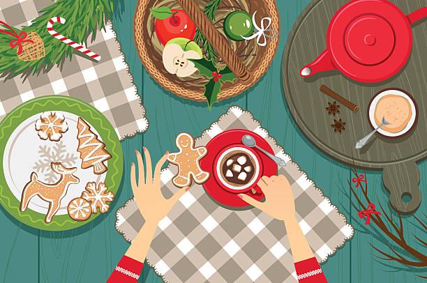 ilustrações de stock, clip art, desenhos animados e ícones de enjoy hot chocolate - christmas table