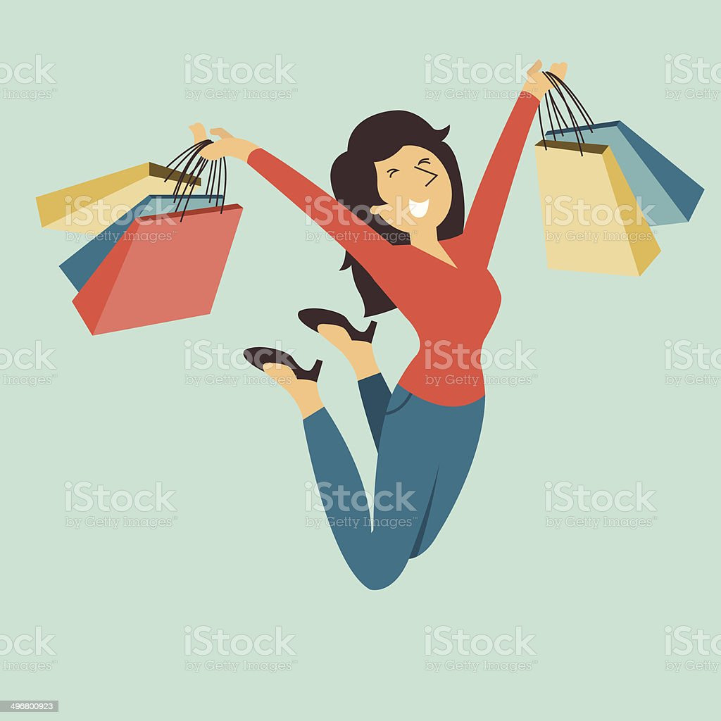 enjoy shopping vector art illustration