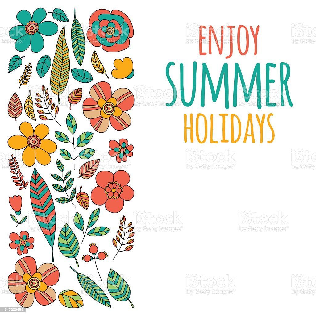 Enjoy Summer Holidays Quote With Doodle Flowers Royalty Free Stock Vector Art