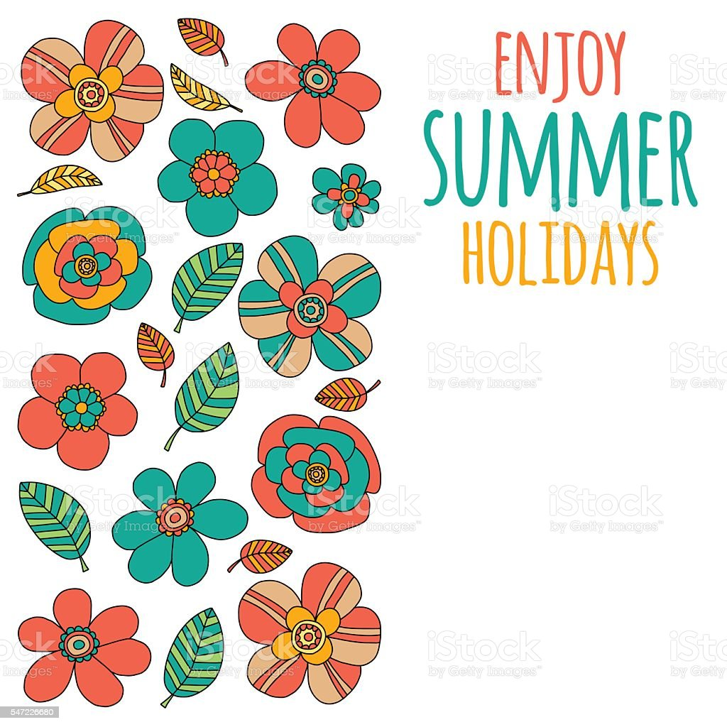 Enjoy Summer Holidays Quote With Doodle Flowers Lizenzfreies Vektor Illustration