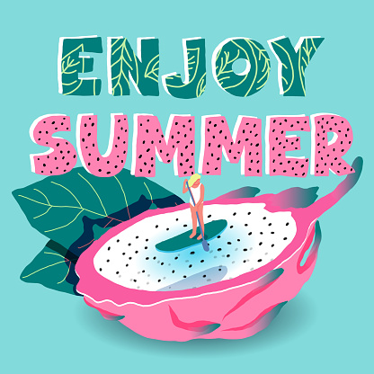Enjoy summer lettering party girl sup fruit illustration. Vector tropical pink green banner exotic pitaya swimming woman
