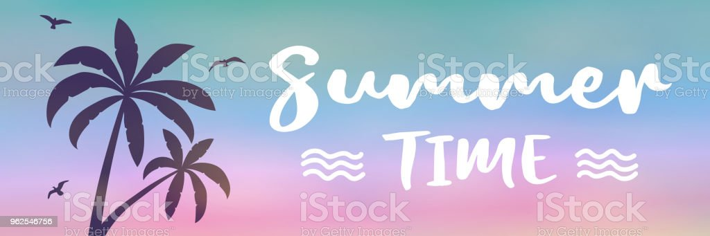 Enjoy summer- multicoloured banner with tropical palms. Vector. - Royalty-free Banner - Sign stock vector