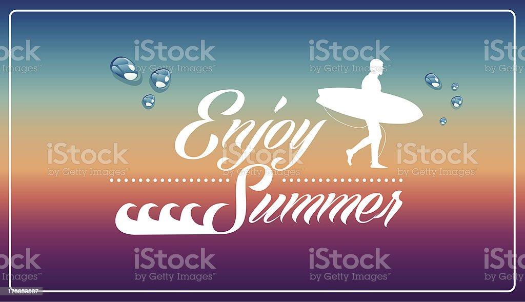 Enjoy surfing summer royalty-free stock vector art