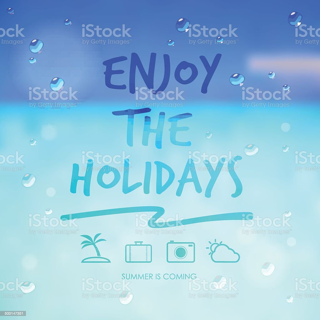 enjoy the holidays and travel icon on summer sea background royalty-free stock vector art