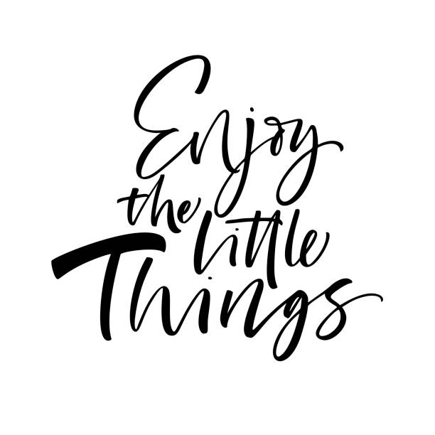 Enjoy the little things card. Enjoy the little things phrase. Ink illustration. Modern brush calligraphy. Isolated on white background. aphorism stock illustrations