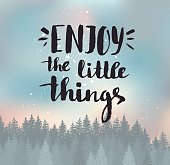 Enjoy the little things. Modern vector calligraphy.