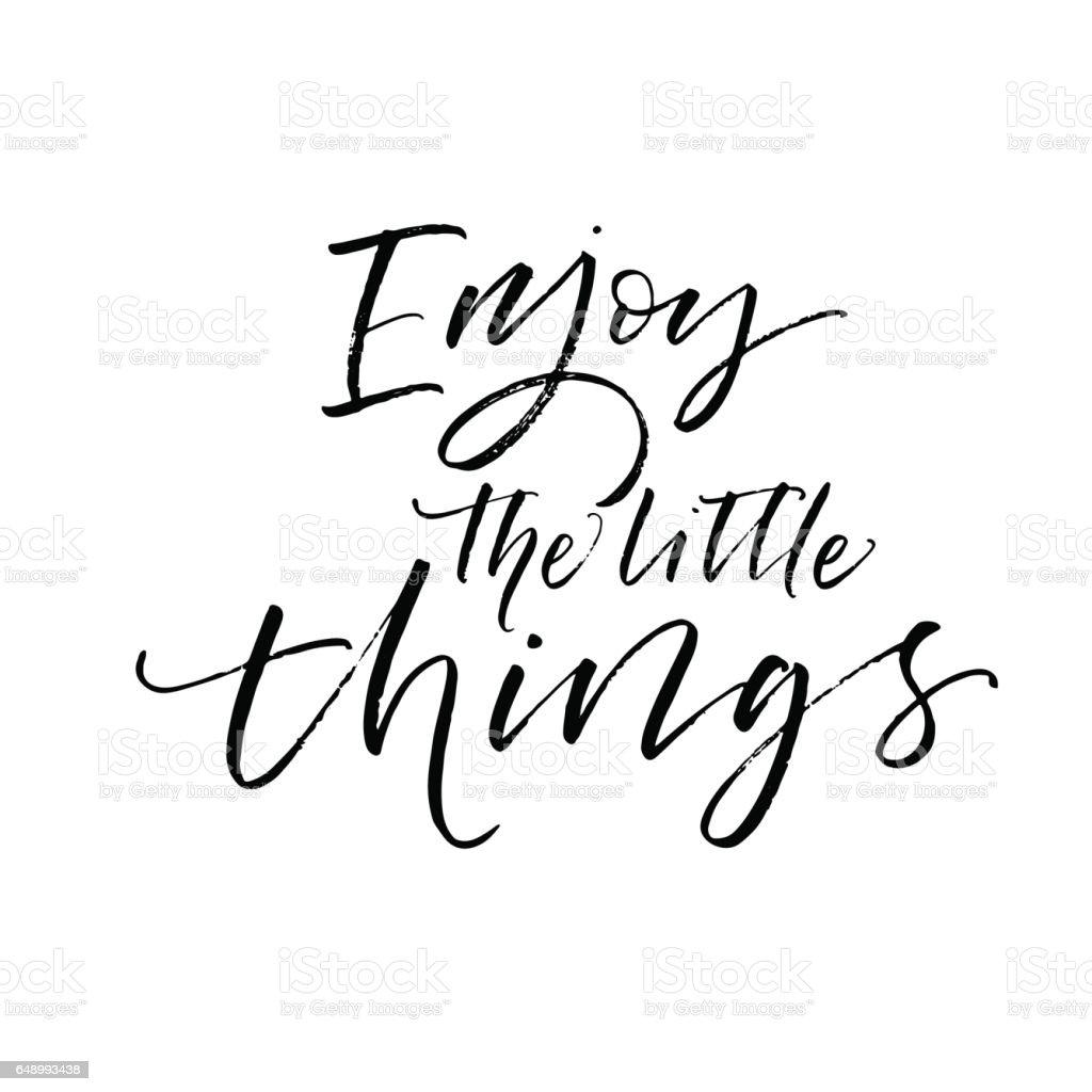 Enjoy the little things postcard. vector art illustration