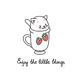 Kawaii illustration of a white cat sitting in the cup of tea. Vector 8 EPS.