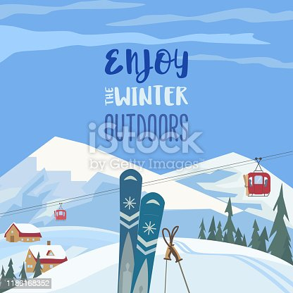 Mountain cable car station. Retro ski cableway, mountain snow ski resort poster background concept. Winter extreme skiing sport, fun activity advertisement template. Nature outdoor vector illustration