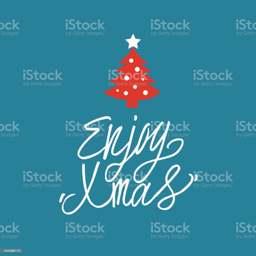 Genießen Sie Weihnachten Handgezeichnete Grußkarte Für Geschenke ...