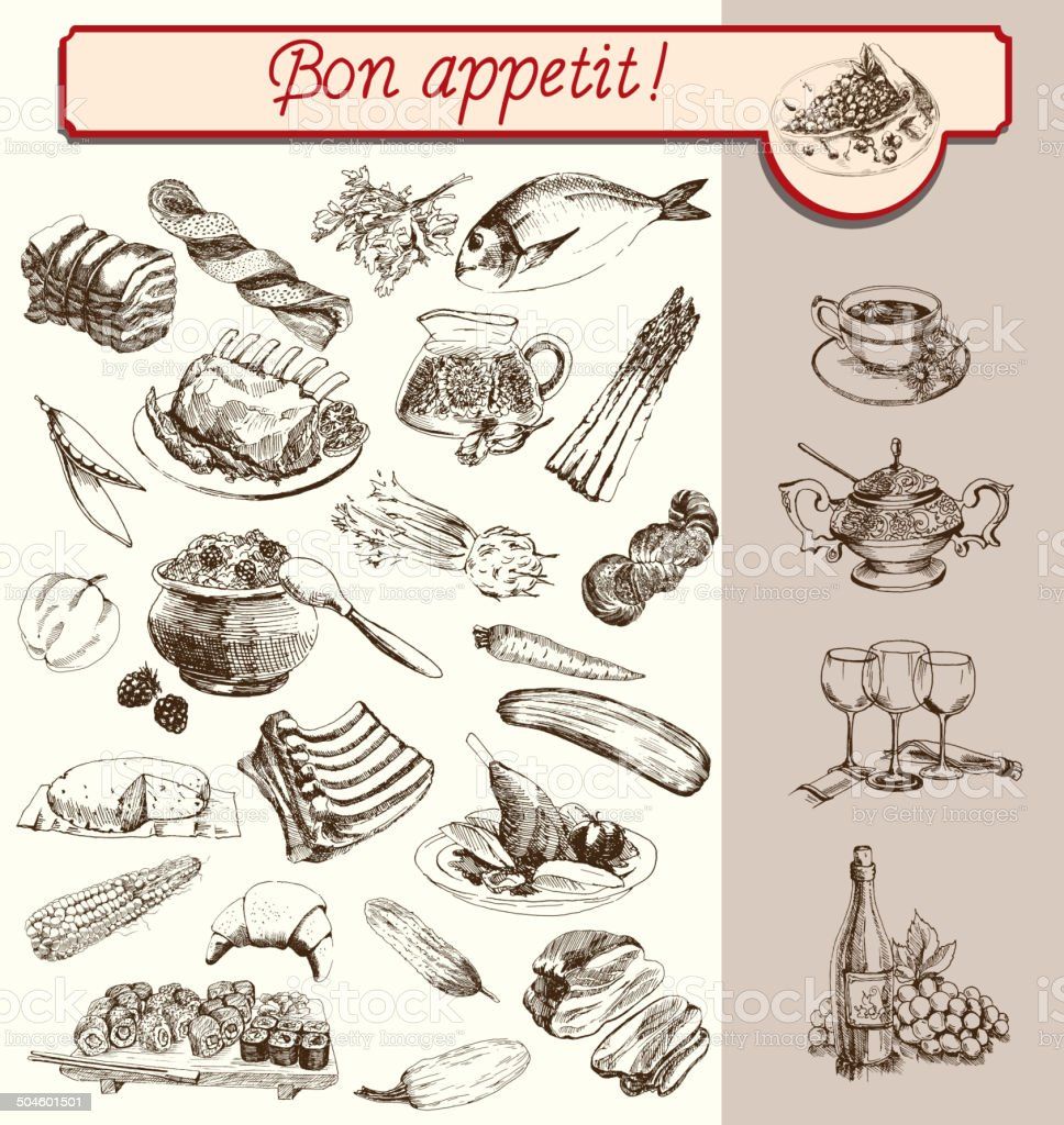 bon appetit vector art illustration