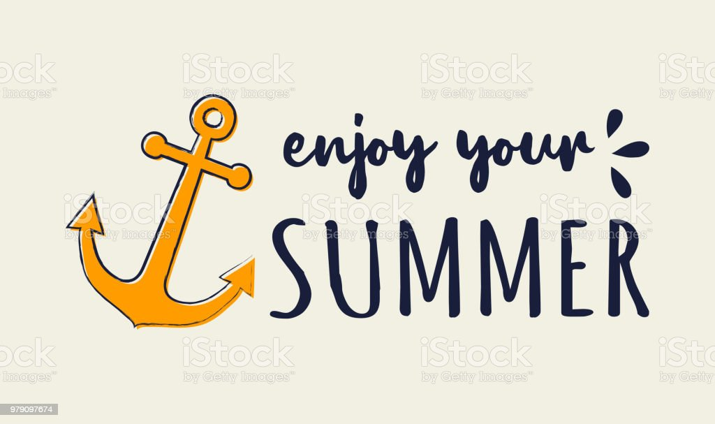 enjoy your summer funny summer element with text concept of a banner