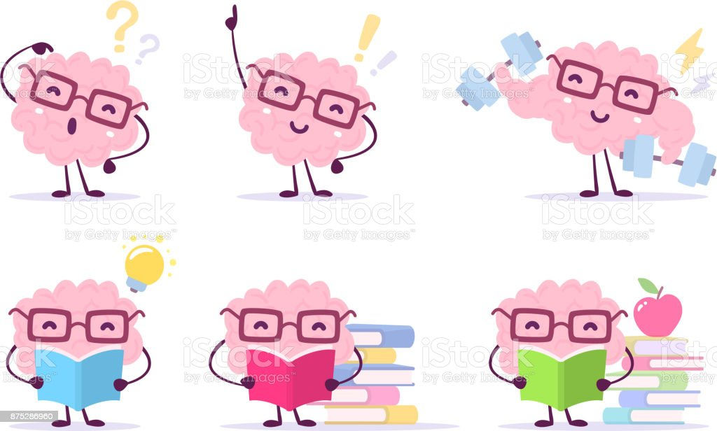 Enjoyable education brain cartoon concept. Vector set of illustration of pink color happy brain with glasses on white background with pile of books, light bulb, dumbbells. vector art illustration