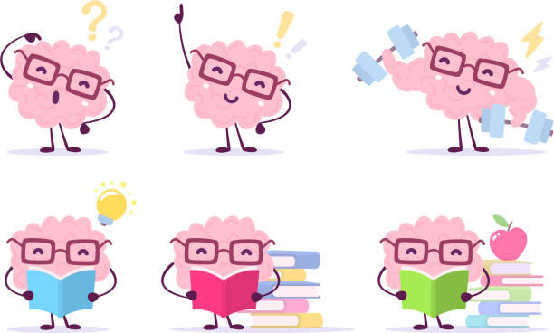 ilustrações de stock, clip art, desenhos animados e ícones de enjoyable education brain cartoon concept. vector set of illustration of pink color happy brain with glasses on white background with pile of books, light bulb, dumbbells. - active brain