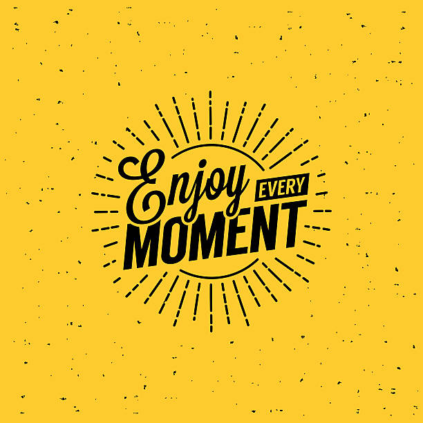 EnjoyEvery Beautiful lettering enjoy every moment. T-Shirt Print with starburst. aphorism stock illustrations