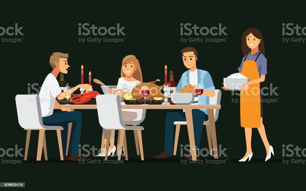 Enjoying dinner with friends,Vector illustration vector art illustration