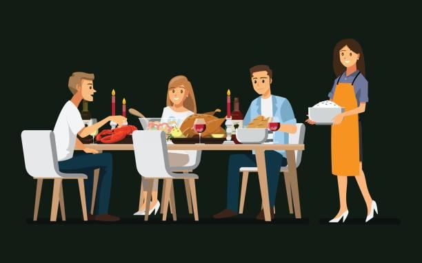 illustrazioni stock, clip art, cartoni animati e icone di tendenza di enjoying dinner with friends,vector illustration - tavola imbandita