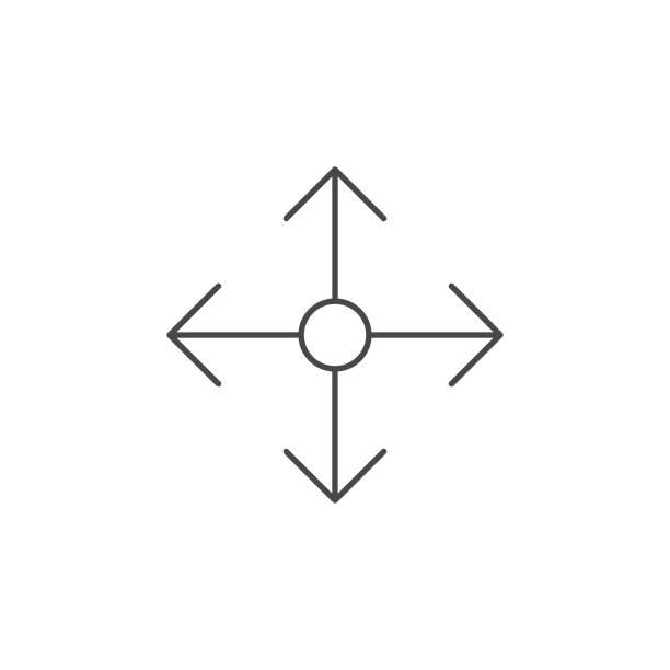 büyütmek veya taraflı ok satırı simgesi için. - start stock illustrations