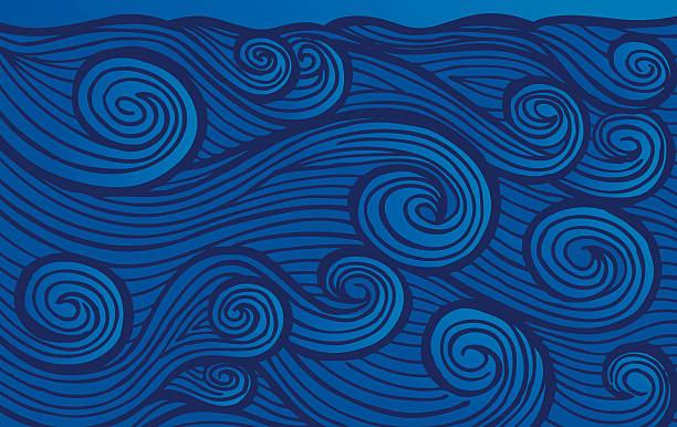 Enraged Hand-drawn Waves vector art illustration