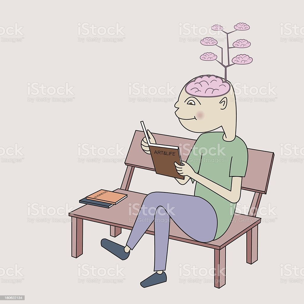 Enrich brain by reading book royalty-free stock vector art