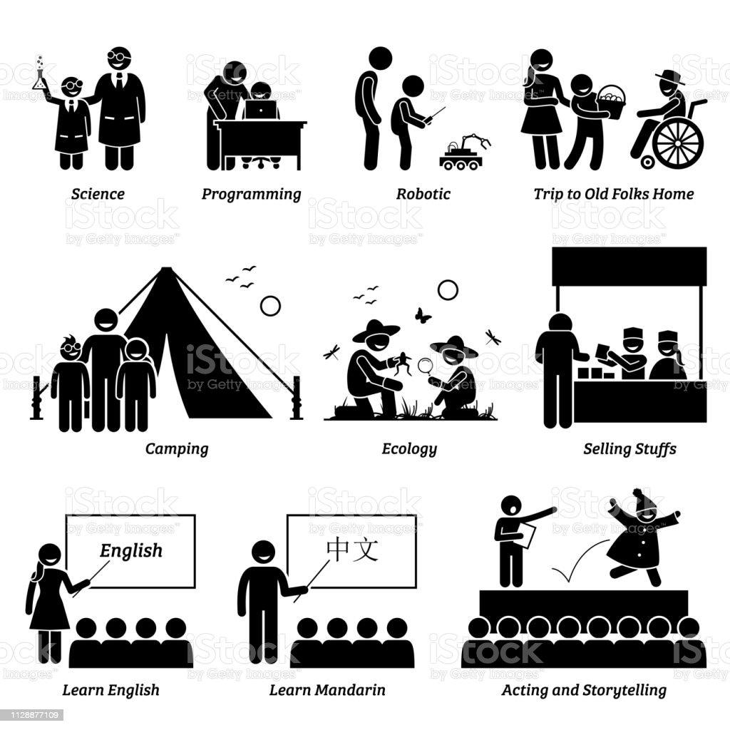 Programa de enriquecimento em atividades acadêmicas e extracurriculares para crianças em idade escolar. - ilustração de arte em vetor
