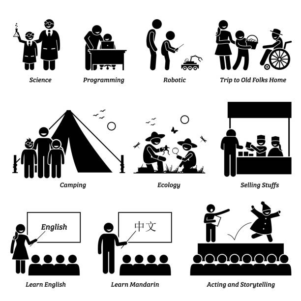学校の子供たちのための学術および課外活動の強化プログラム。 - 語学の授業点のイラスト素材/クリップアート素材/マンガ素材/アイコン素材