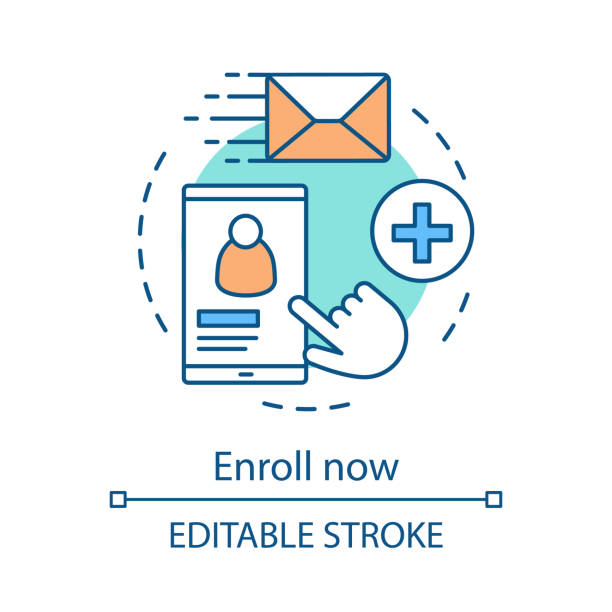 Enroll now concept icon Enroll now concept icon. Online student enrollment. User account creation. Sign up, login, authorization. Profile page. Idea thin line illustration. Vector isolated outline drawing. Editable stroke enrollment stock illustrations