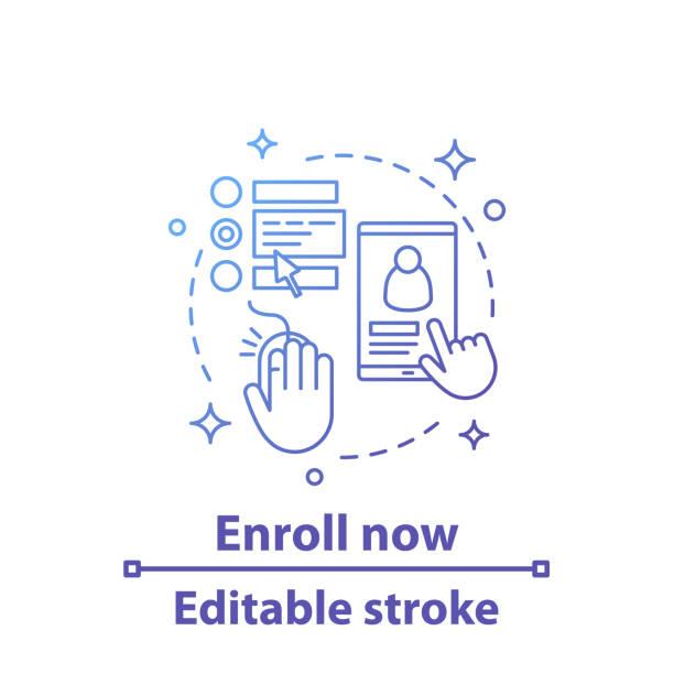 Enroll now icon Enroll now vector concept icon. Sign up. Online registration. Choosing services. Social media. Editable stroke enrollment stock illustrations