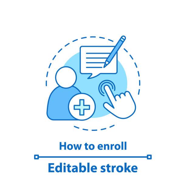Enroll now icon Enroll now vector concept icon. Enrollment. New user registration. Sign up. Editable stroke enrollment stock illustrations