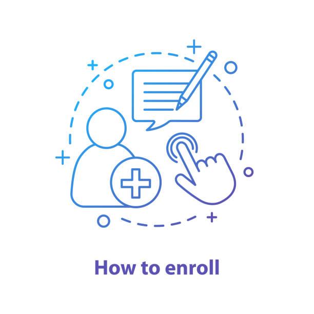 Enroll now icon Enroll now concept icon. Enrollment. New user registration. Sign up enrollment stock illustrations