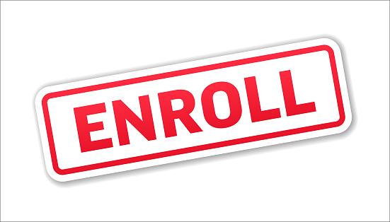 Enroll - Stamp, Banner, Label, Button Template. Vector Stock Illustration