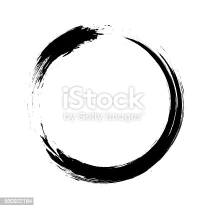 Ensō character in black and white, a circular brushstroke used in Japanese calligraphy. It represents the state of mind at the moment of creation and symbolizes absolute enlightenment, strength, elegance, the universe, and the void. Comparable to the Taoist sign of yin and yang.