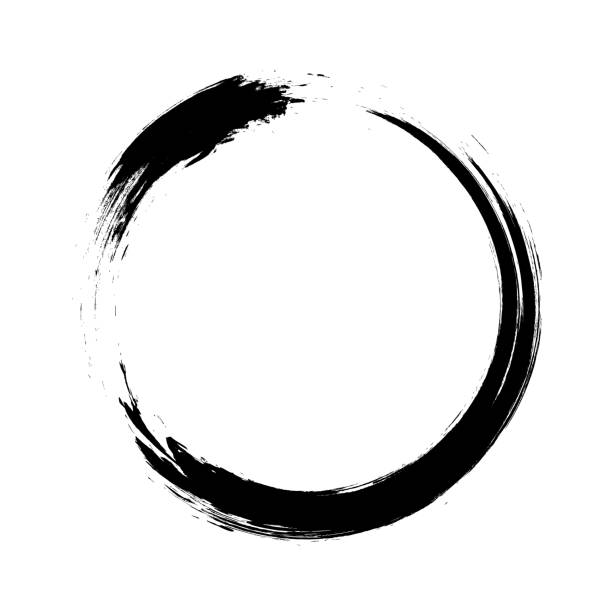 Enso – Circular brush stroke (Japanese zen circle calligraphy n°1) Ensō character in black and white, a circular brushstroke used in Japanese calligraphy. It represents the state of mind at the moment of creation and symbolizes absolute enlightenment, strength, elegance, the universe, and the void. Comparable to the Taoist sign of yin and yang. meditation stock illustrations