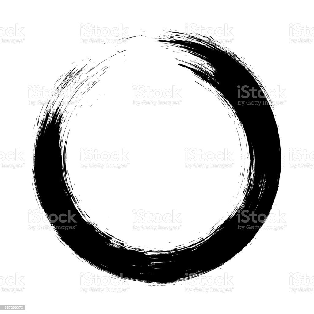 Enso – Circular brush stroke (Japanese zen circle calligraphy n°9) vector art illustration